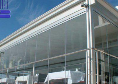 carpinteria metalica cerramiento con cortina cristal en pamplona lamitek